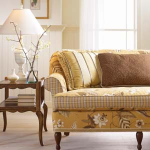 C R Laine Cottage Yellow Brown Fl Sofa