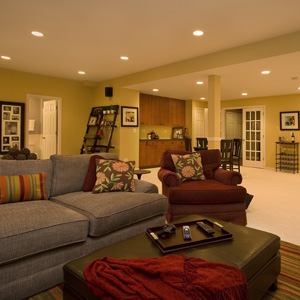 lighter color palette on the walls is a good idea to keep the basement