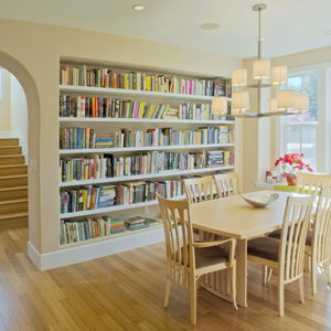 bookshelf in dining room