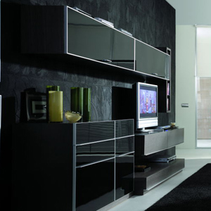 eurotrend black wall and entertainment cente