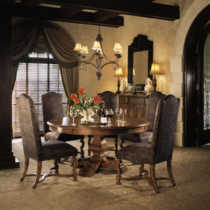 stanley furniture round dining room table upholstered chairs