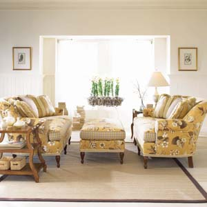 c.r. laine yellow floral sofa